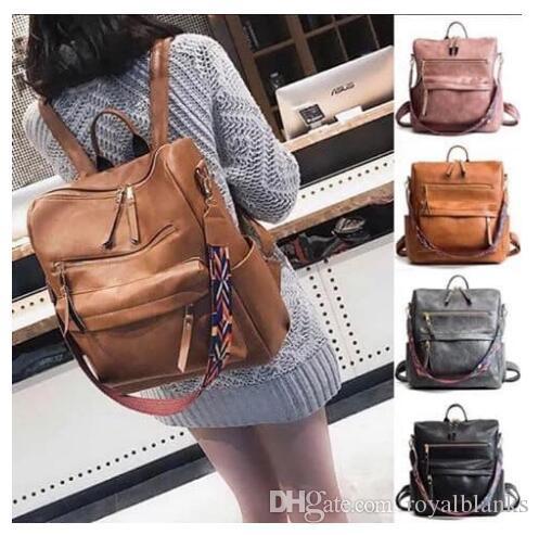Vente en gros Blanks femmes Faux cuir sac à dos avec Serape Couleur Bracelet Fashion sangle sac d'école pour fille peuvent être personnalisés