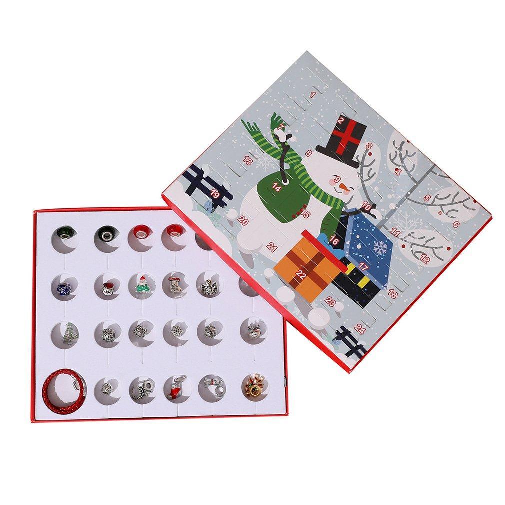 Noel Süsler Çocuk'S Hediye Kutusu Geri sayım Takvim Hediye Kutusu Advent Deri İp Bileklik Seti
