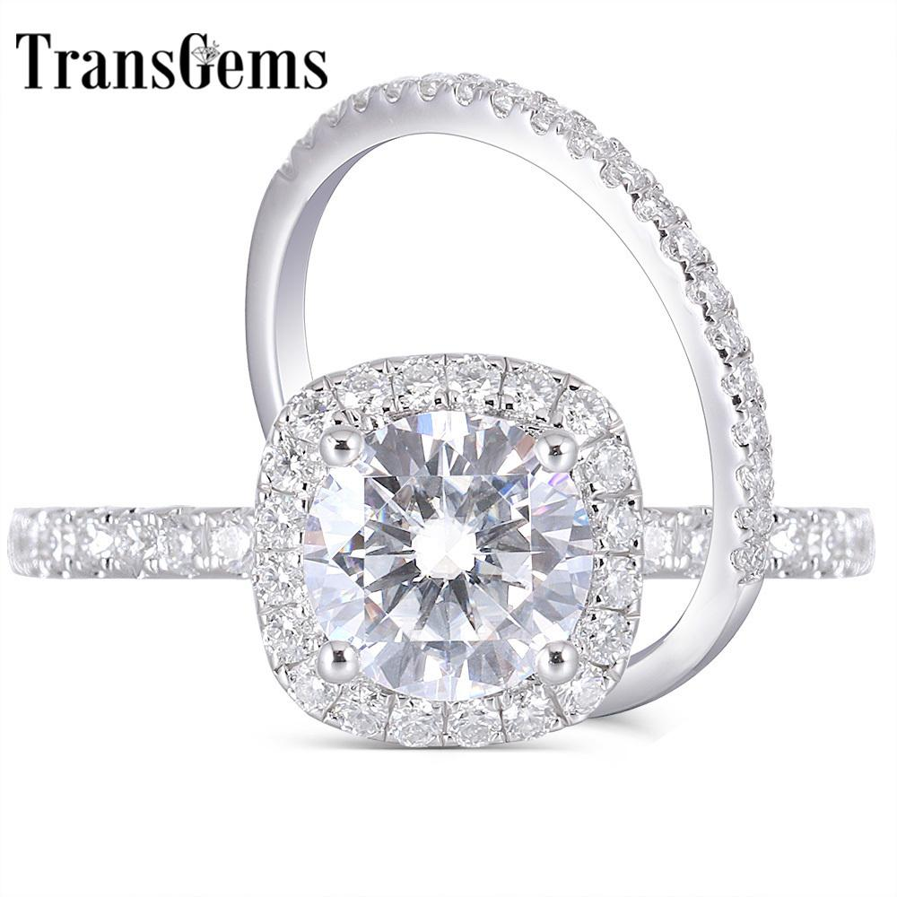 Transgems 14k White Gold 2ct 8mm F Color Moissanite Engagement Ring Wedding Band Bridal Set Two Pieces Y19061203