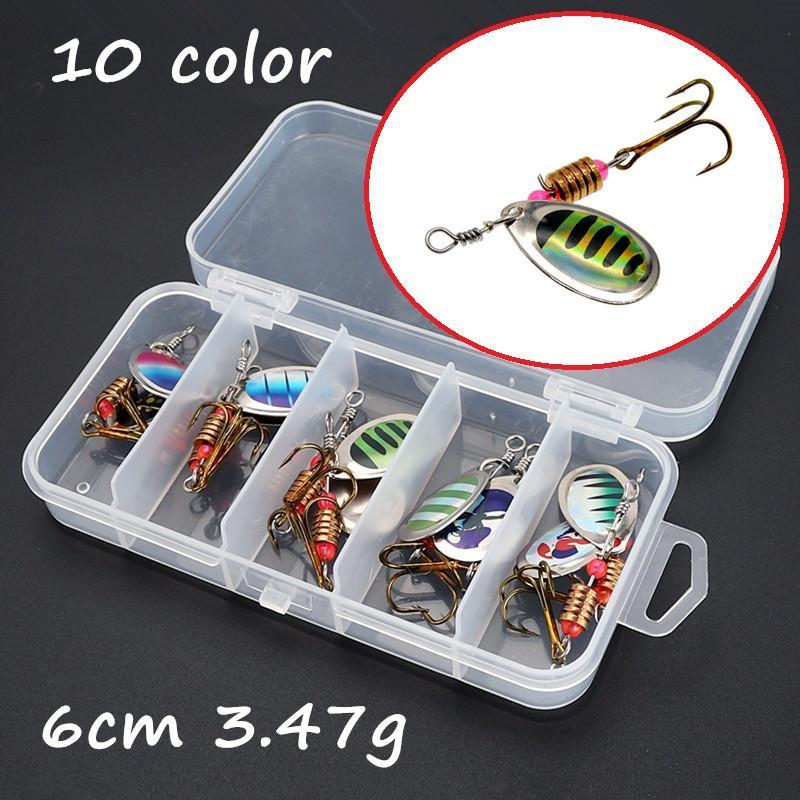 10pcs/box Spinner Metal Baits & Lures 10 Colors 6cm 3.47g 6# Fishing Hooks WL_145