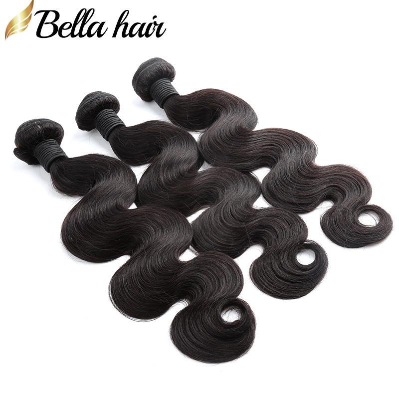 Bellahair 100٪ غير المجهزة بيرو الإنسان عذراء الشعر حزم الجسم موجة الشعر لحمة الشعر الملحقات 3pcs / lot لحمة مزدوجة