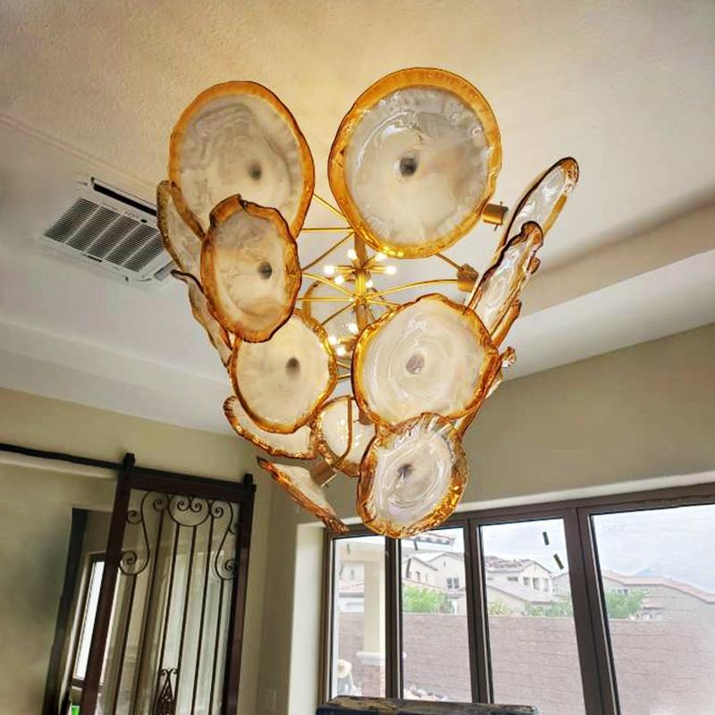 Modern Art Decor Blown Glass Chandelier Gold Color Murano Glass Plates Chandeliers Custom 36 Inches LED Flower Chandelier for Room Decor
