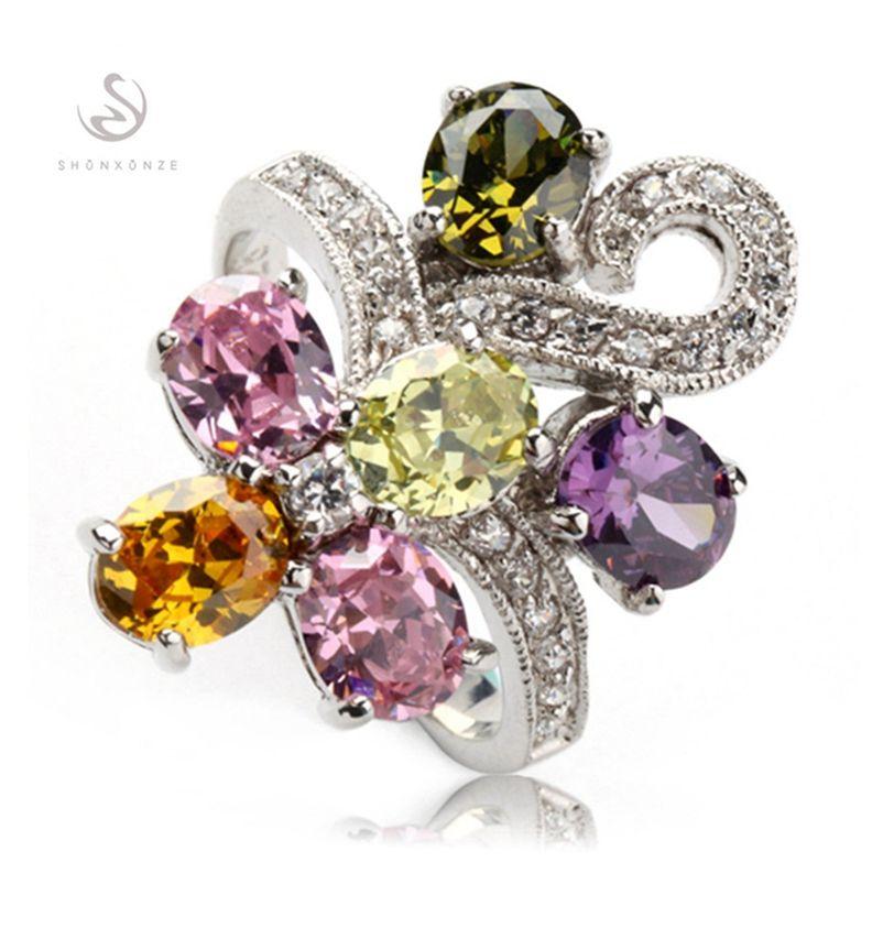 Shunxunze Bästsäljare Blå Gul Rosa Morganit Cubic Zirconia Bröllop Ringar Smycken för Kvinnor Tillbehör Rhodin Plated R366 Storlek 6 - 9