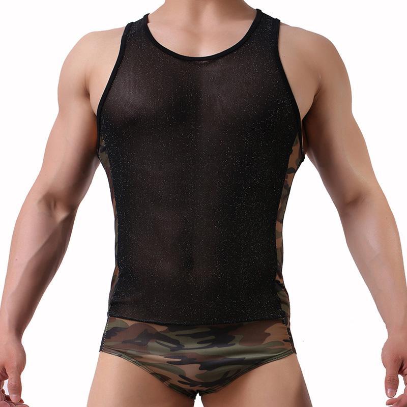 Сексуальные мужчины гей экзотический клуб нижнее белье сетка сексуальные топы дышащий мужчины боди комбинезон шорты обтягивающий купальник Майка