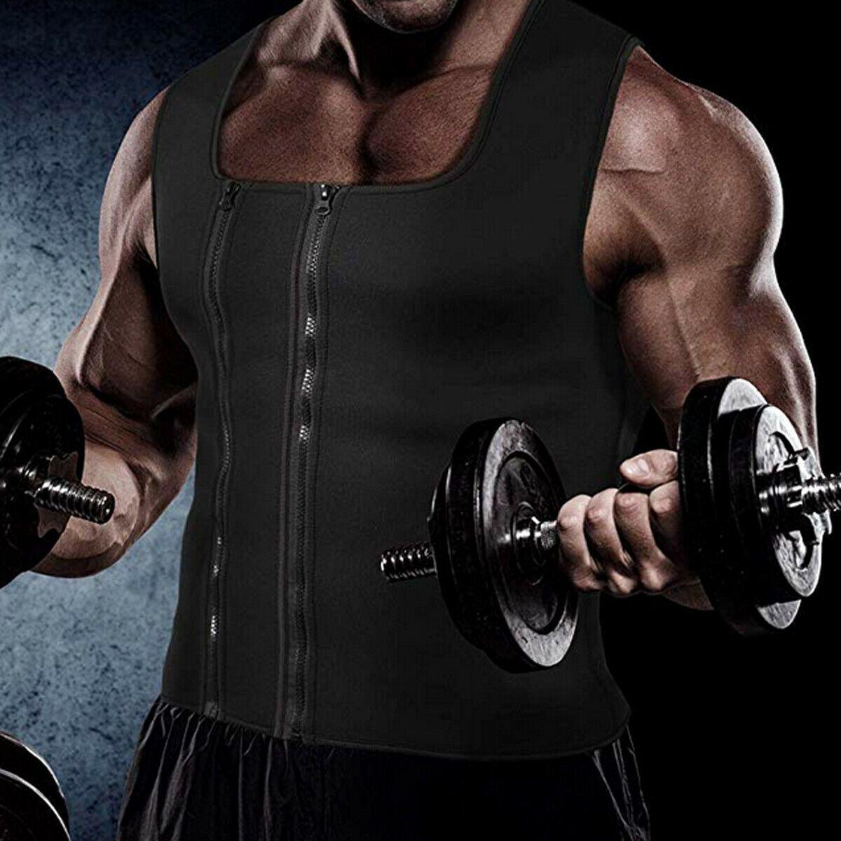 2019 Men 's Slimming Vest Black Zipper Neoprene Vest Sweat Shirt 몸 셰이퍼 허리 트레이너 Gym Slim 코르셋 Running Vest Shapewear