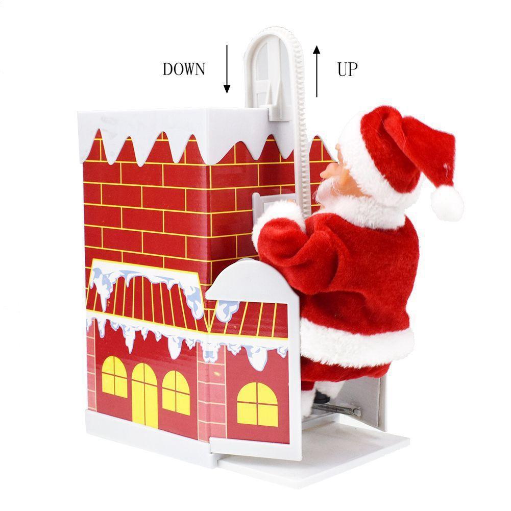 Рождество Электрический Поднимаясь дымоходов Санта-Клаус Детские игрушки Детские электронные игрушки с музыкой рождественские украшения Подарки GGA2995-6