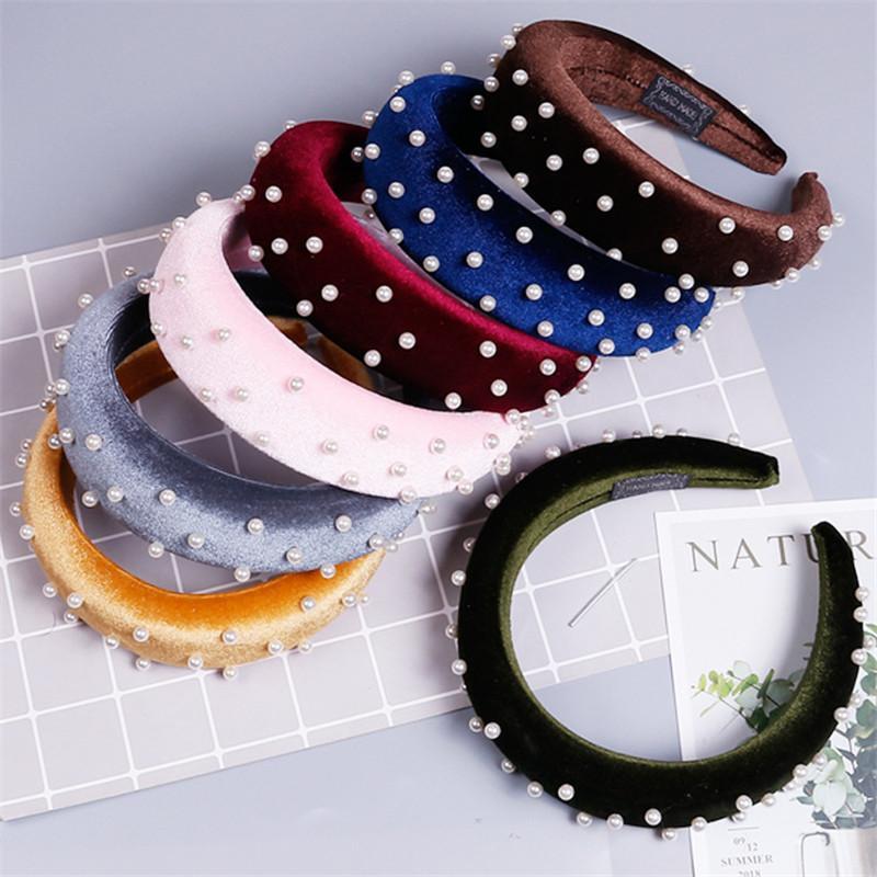 Mode-Design-Stirnband Yoga Kopfschmuck Gold-Samt-Nagel-Perlen-geknotete Stirnband Schwamm Wilden Stoff Stirnband-Milch-Silk Hairpin
