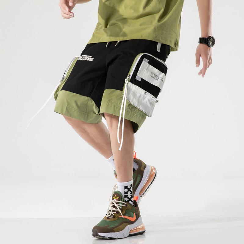 2020 Harajuku Streetwear Yaz Casual Şort Erkekler ile Mens Şort Diz Boyu Bermuda Erkek Şort T200430 Cepler