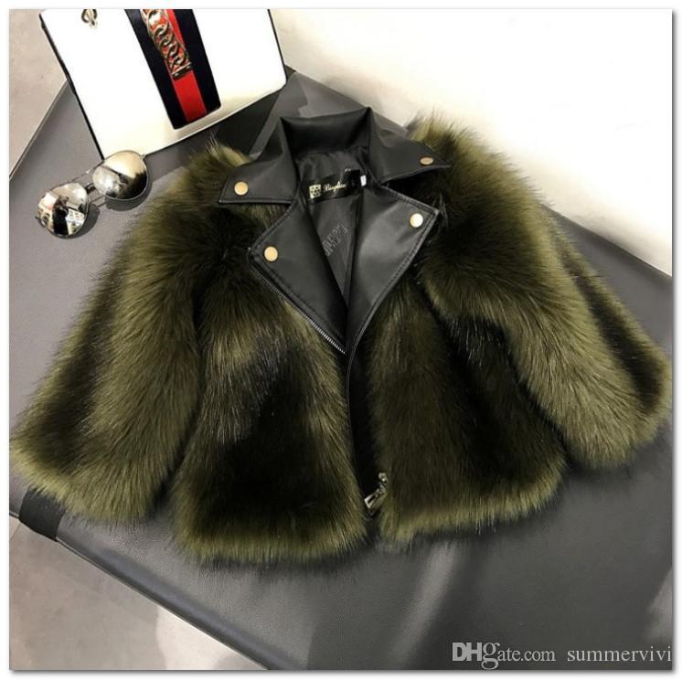 Moda Çocuklar Faux Fox Kürk Dış Giyim Güz Kış Yeni Kızlar Kalınlaşmak PU Ceket Kaban Çocuk Yaka Uzun Kollu Peluş Sıcak Prenses Coat J1418