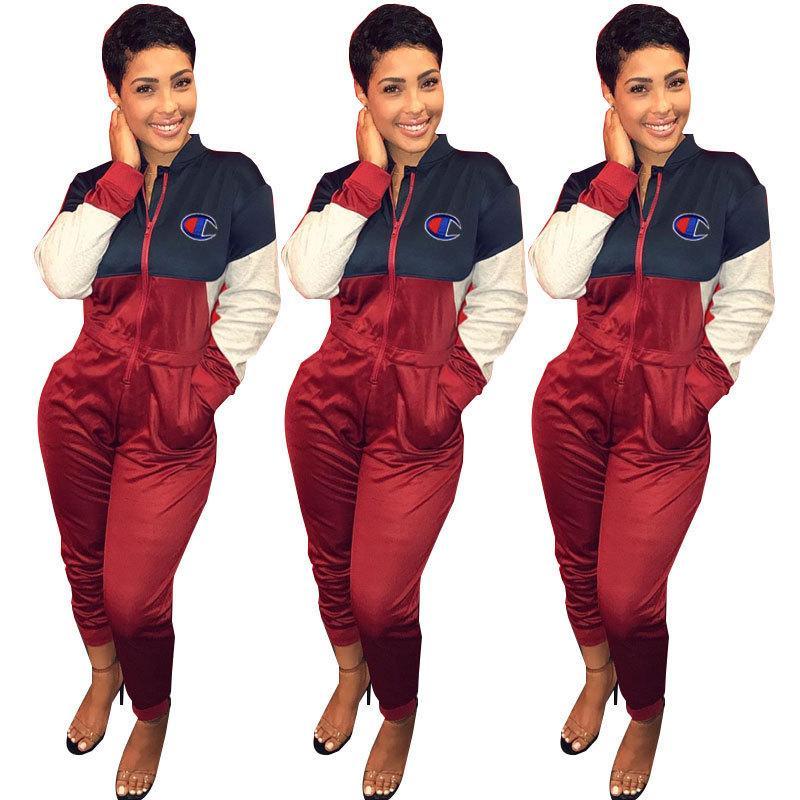 traje de ropa deportiva informal Colorblock de las mujeres atractivas