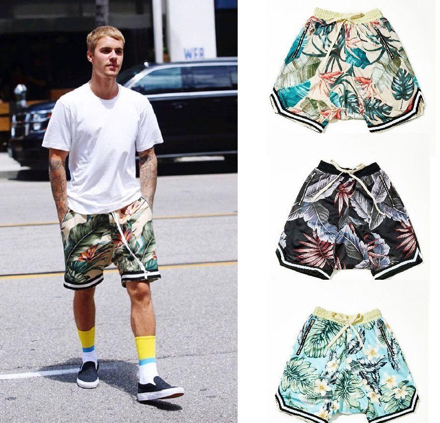 Niebla para hombre pantalones cortos de  baloncesto diseño Fear Of God Justin Bieber Mismo párrafo Baloncesto Shorts Hawaii Sandy Beach Pantalones Tiempo libre shorts de playa