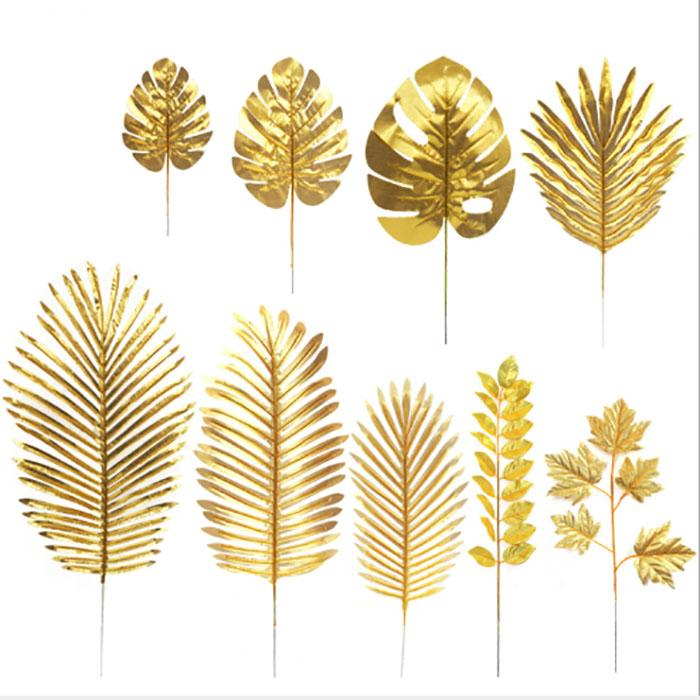الذهب أوراق الزهور الاصطناعية الخضراء أوراق النباتات الاستوائية غرفة المعيشة المنزل الديكور حديقة المنزل في الهواء الطلق الزفاف الديكور