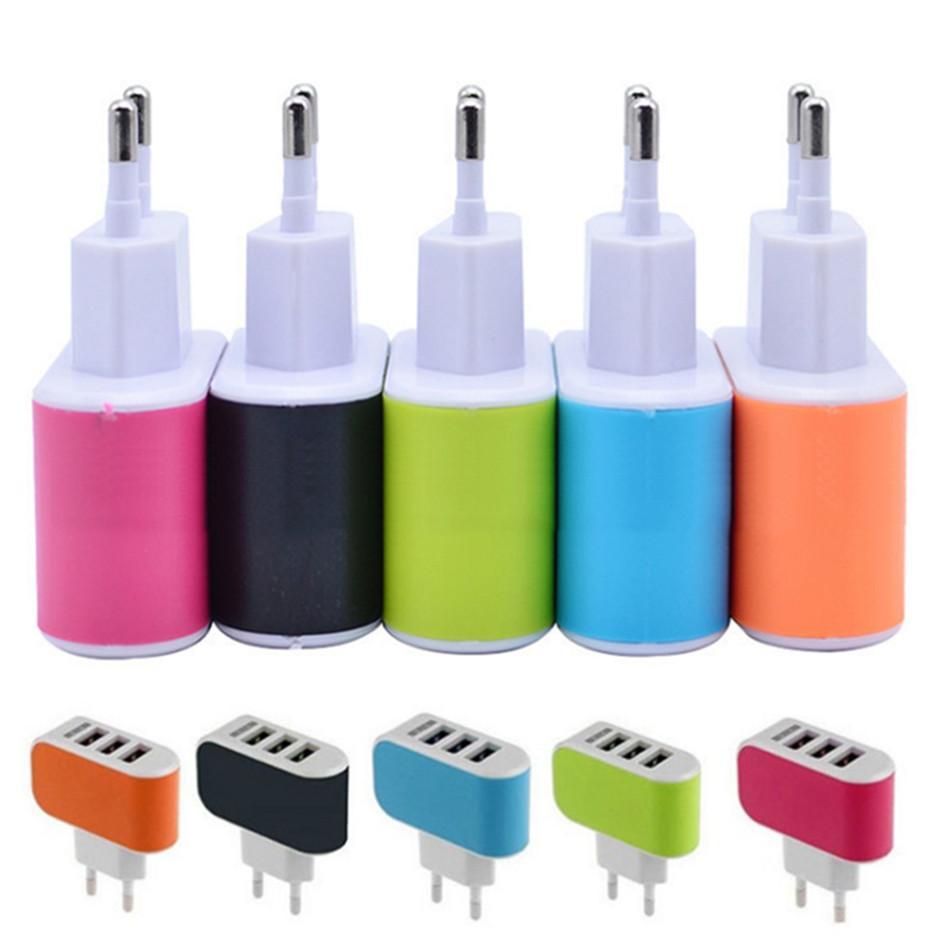 جديد US Eu Plug 3 USB Ports Wall Charger 5V 3.1 A Led Travel Power Adapter Eu Chargers Dock For smartPhone