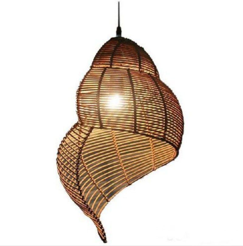Southeast Asian Bamboo Pendant Lights Fixture Pastoral Rattan Escargot Pendant Lamps Hotel Restaurant Dining Room Cafes Pub Bar Hanging MYY