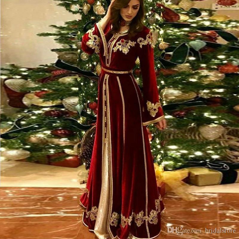 Бордовые Arabic Пром платья 2020 с длинным рукавом мусульманское Вечерние платья Полная длина шнурка Кафтан Абая Формальное вечернее платье Jewel Neckl партия платье