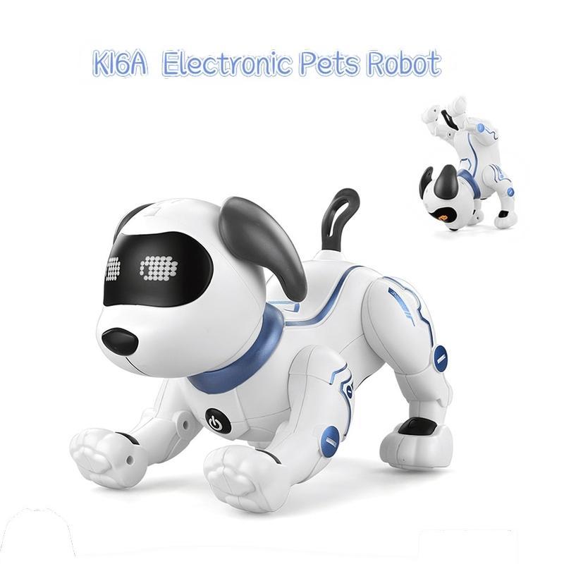 어린이 장난감 선물 MX200414에 대한 LE NENG 장난감 K16A 전자 동물 애완 동물 로봇 개 RC 스턴트 개 음성 명령 프로그램 음악 노래 장난감