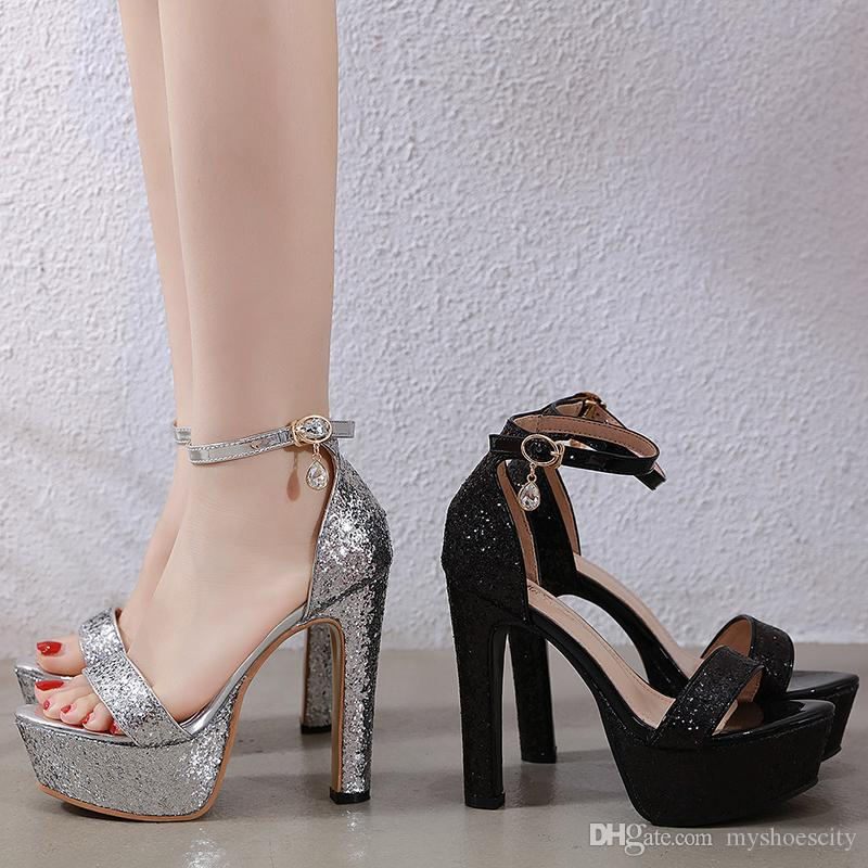 2020 summer shiny silver sequined platform heels bridal wedding shoes bridesmaid shoes 13cm