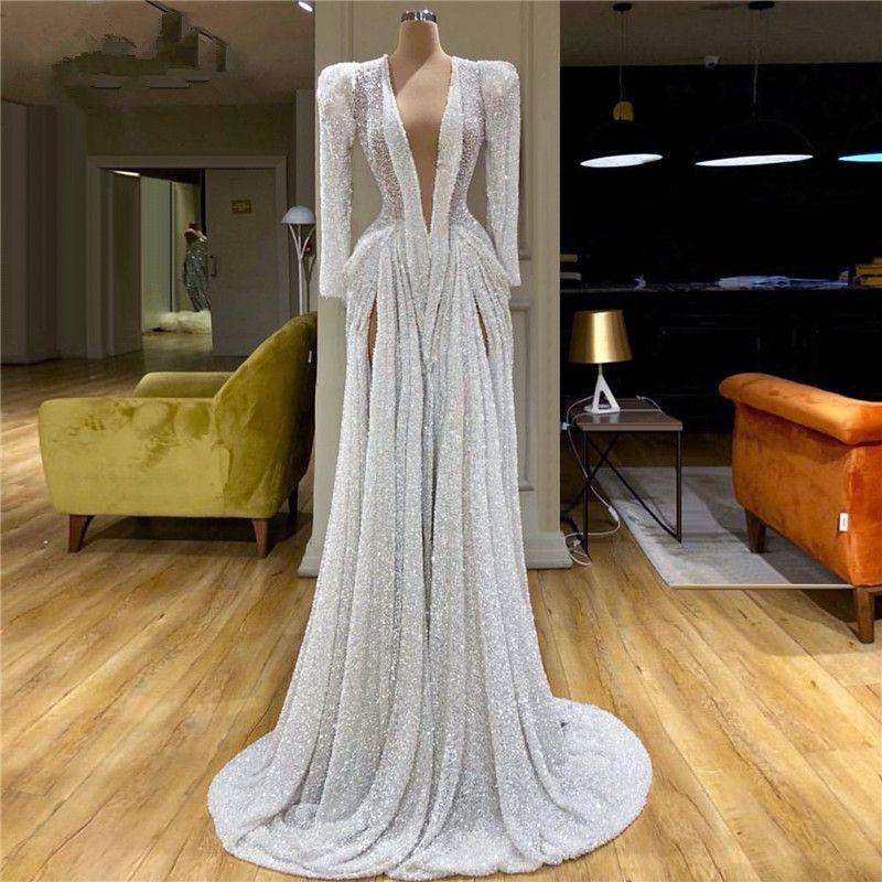 Sparkly 2020 pailletée blanc des robes de bal à manches longues col en V profond perles Parti robes haute de Split turc Vestidos Tenue Tenue de soirée