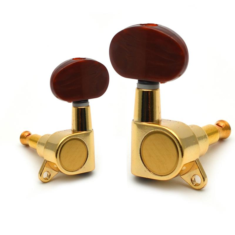 6 pcs/sets Golden Folk Acoustic Electric Guitar Inline Guitar Tuning Peg key Machine Heads Tuners With Coffee Hemicycle knob