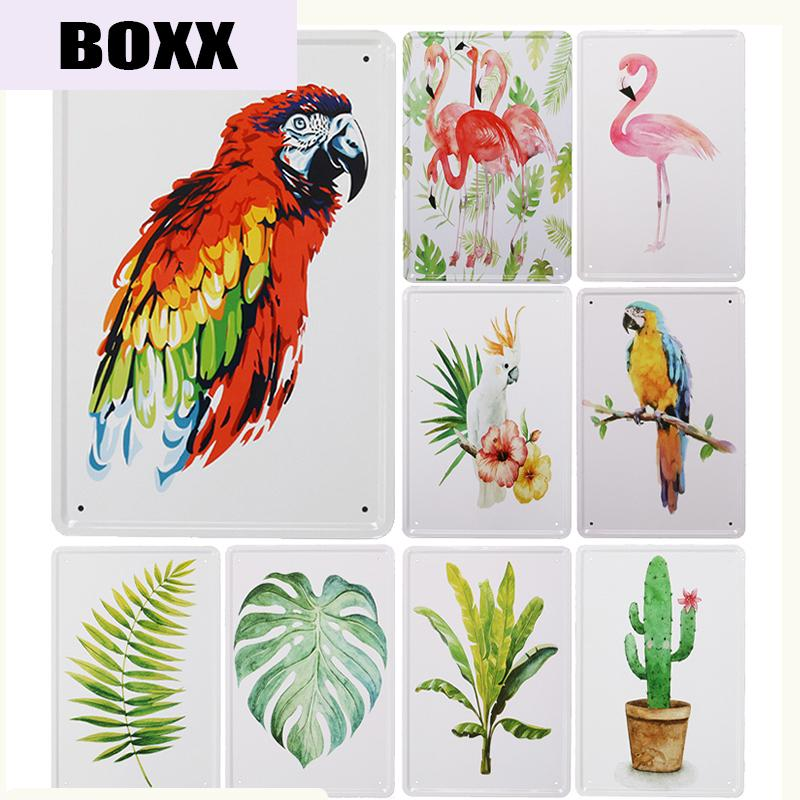 Nordic Parrot/Flamingos/Plant Metal Sign Bar Wall Decor Vintage Metal Crafts Home Decor Painting Plaques Art Poster