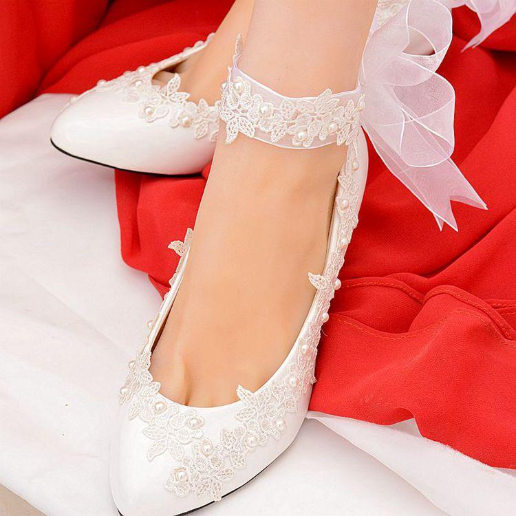 Blanco hecho a mano zapatos de boda de encaje de dama 2020 zapatos planos de las señoras de los talones tamaño de los zapatos de novia hasta 40 Talones nupcial del cordón Bombas
