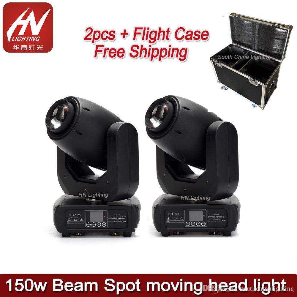 2 adet flycase ile 150 watt gobo sahne ışık DMX 150 W işın nokta led hareketli kafa ışık Için Sahne Işık DJ Disko Spot Işıkları