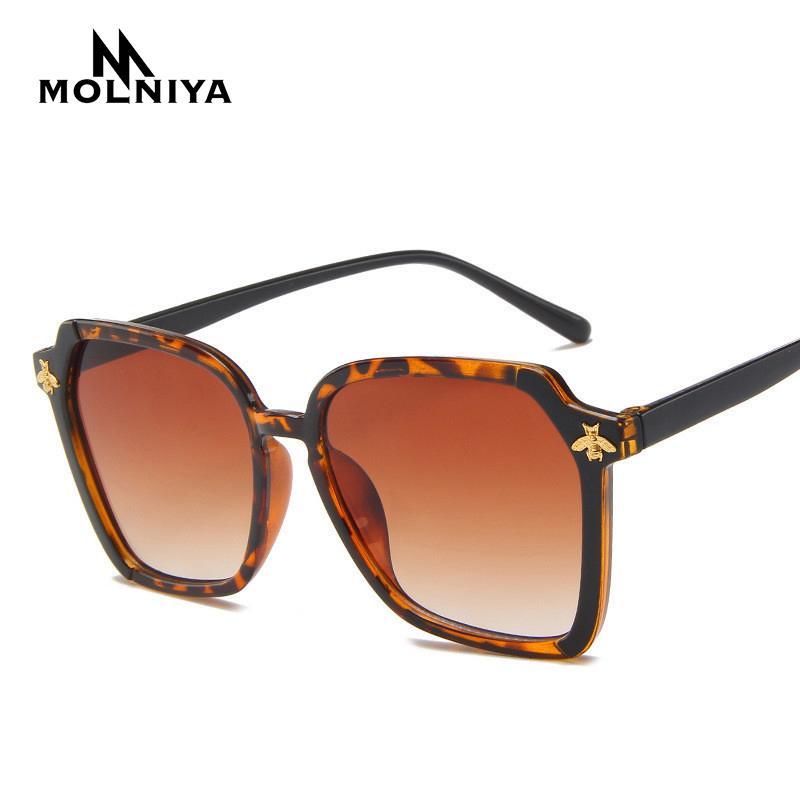 Старинные женские пластиковые солнцезащитные очки бренд дизайнер ретро Пчелиный полигон роскошный коричневый Леопард женский градиент солнцезащитные очки UV400