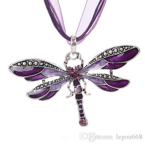 Collar de plata libélula declaración collares colgantes Vintage cuerda cuerda collar mujeres accesorios GB