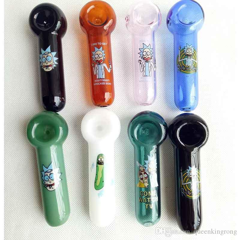 Tobacco Cucumber Hand Heady Glass Pipes Pyrex Spoon Bongs Oil Burners Nail Smoking Pipe Thick 8 Colors Choose 4.0inches