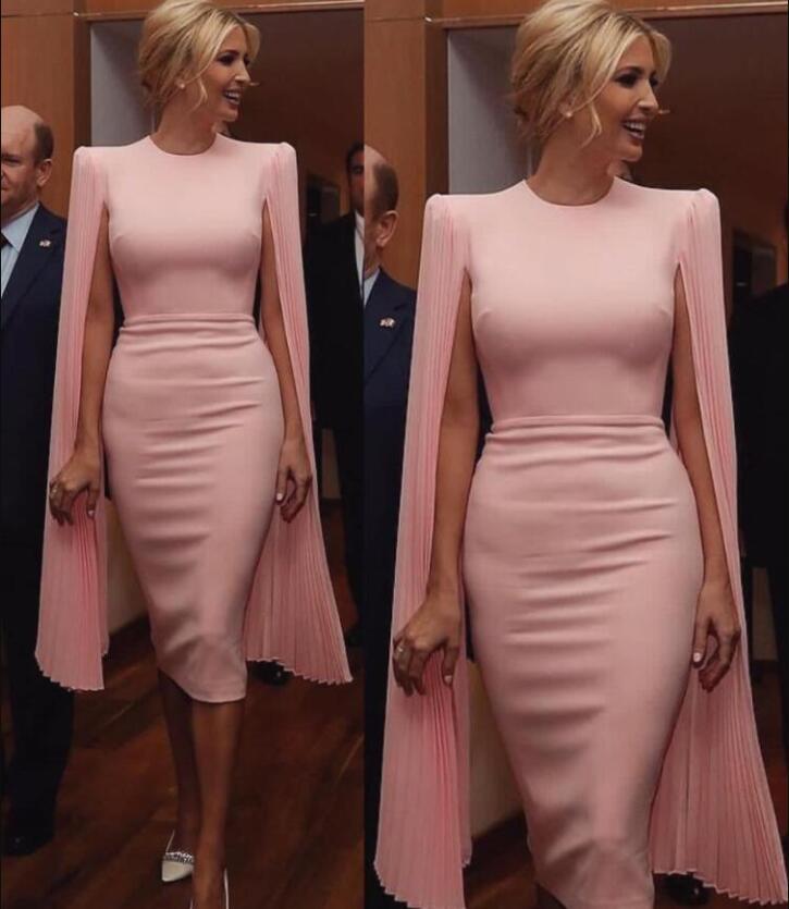 2020 en mousseline de soie rose Designer gaine Mère de marié de jeune mariée robes avec Wrap Jewel cou thé longueur manches femmes cocktail Robes de soirée