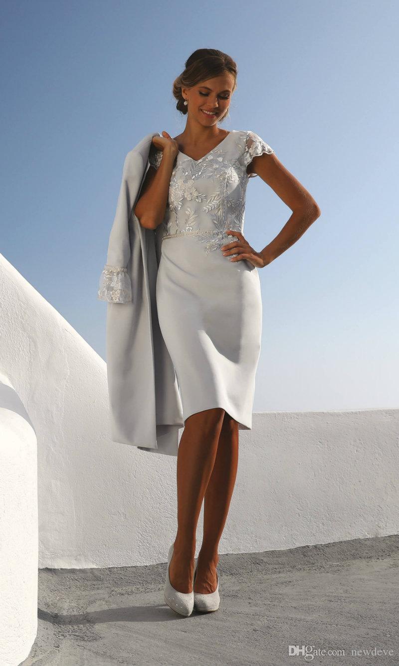 Großhandel 20 Kleider Für Die Brautmutter Mit Jacke V Ausschnitt Knielang  Satin Abendkleider Party Prom Wear Spitze Hochzeitsgast Kleid Von Newdeve,