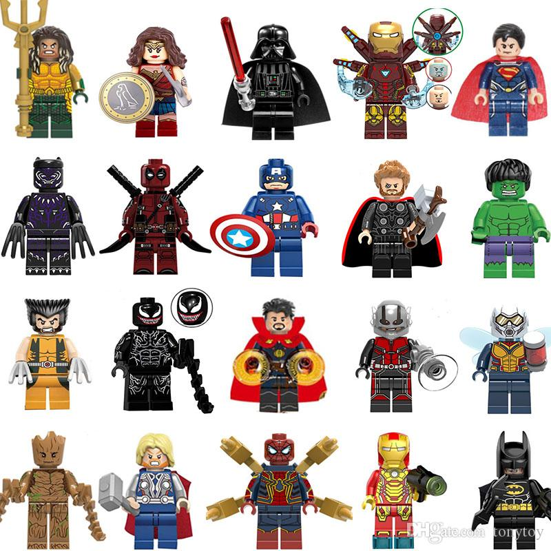 WHOLSALE شحن سوبر بطل البسيطة أرقام الأعجوبة المنتقمون DC دوري العدل عجب امرأة الرجل الحديدي باتمان الرجل العنكبوت بناء كتل الاطفال الهدايا