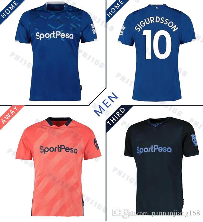 Everton maillot de football Hommes SIGURDSSON RICHARLISON ANDRE GOMES WALCOTT 2019 2020 Everton loin Troisième football Chemises hommes uniformes fixe
