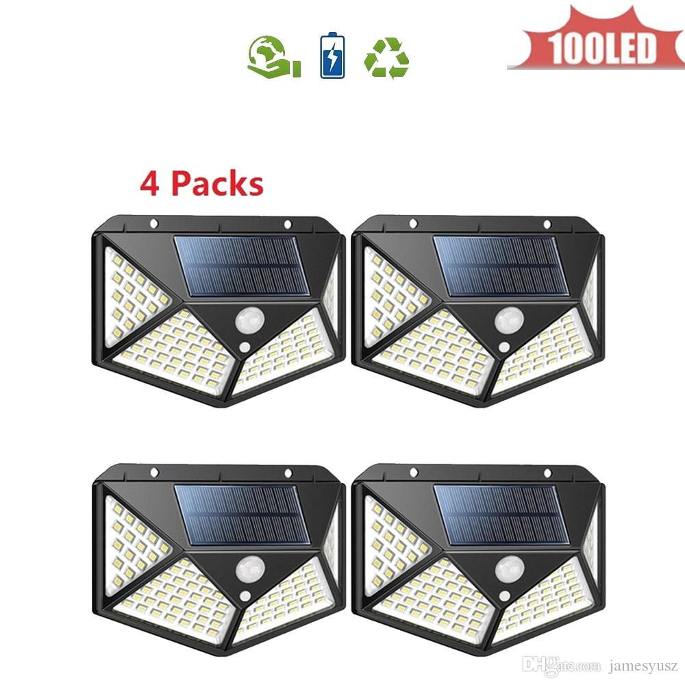 Led Garden Solar Lamp Motion Sensor Wall Light 3 Mode 100 LED Separable Solar Power Light Super Bright Security Waterproof Lights 4 sided 27
