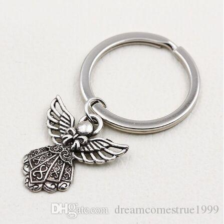 20pcs/lot Key Ring Keychain Jewelry Silver Plated Metal Zinc Alloy Angel Charms Pendant key Accessories new