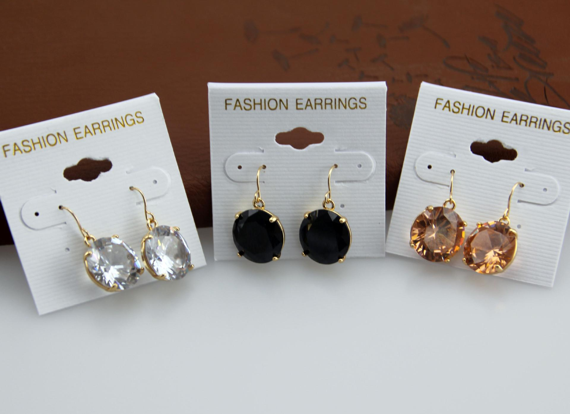 Crystal zircon stud earrings champagne /black/white 3 colors to choose hot sale K Series jewelry