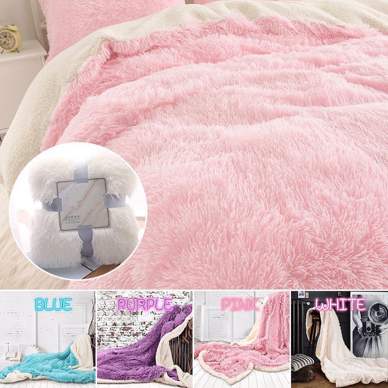Lançar cobertor dupla camada de poliéster da pele do falso cobertor quente de Natal presente Cordeiro Cashmere Inverno Shaggy Bed Hotel Fortaleza