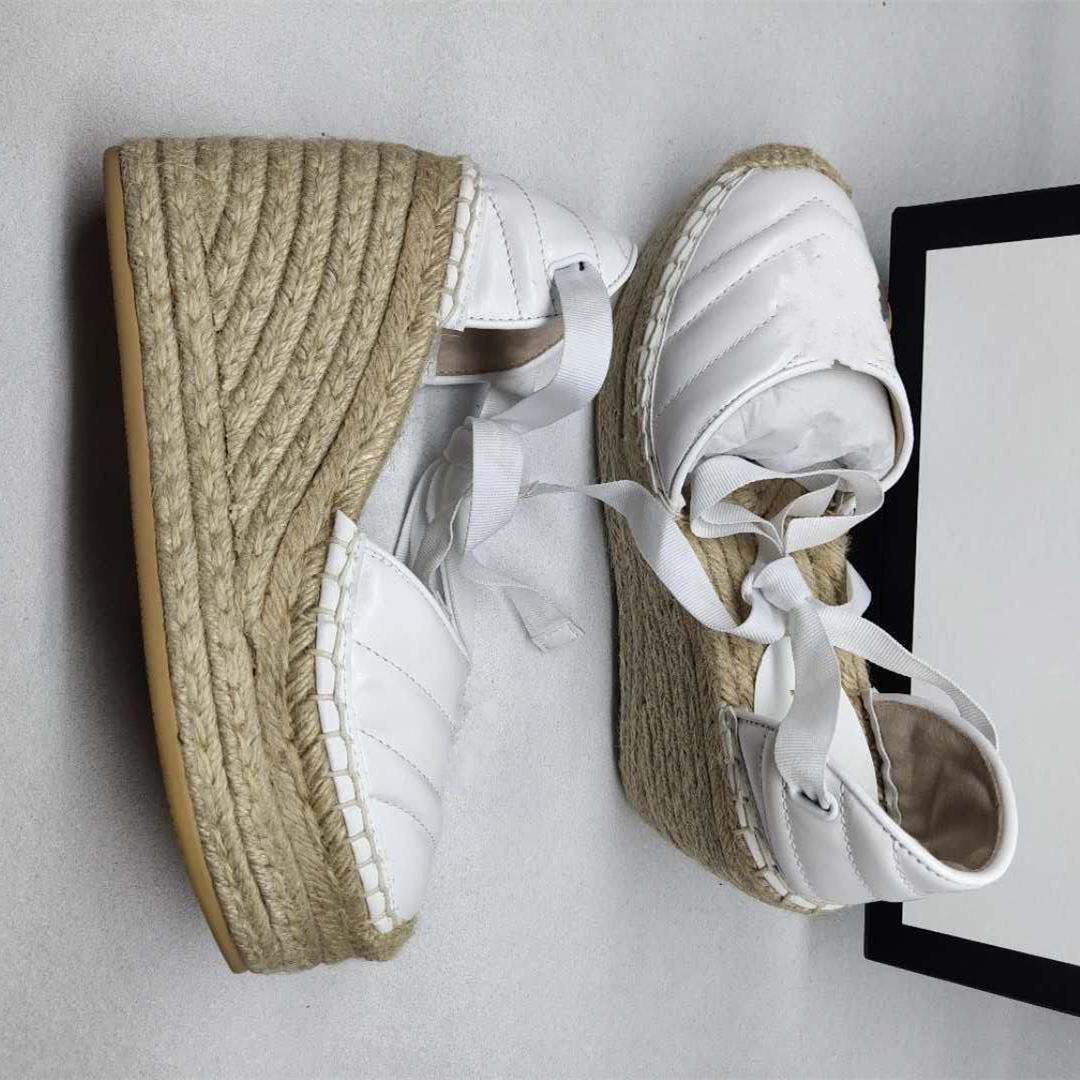 Sexy Ankle Strap Black White Grosgrain Lace Up Calfskin Real Leather Platform Espadrilles Women Wedge Shoes size 35 to 41 tradingbear