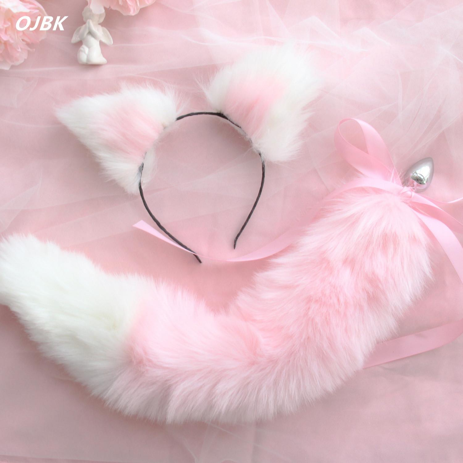 Cute Soft Cat ears Headbands with Fox Tail Bow Metal Butt Anal Plug Erotic Cosplay Accessories Adult Sex Toys for Couples T200630