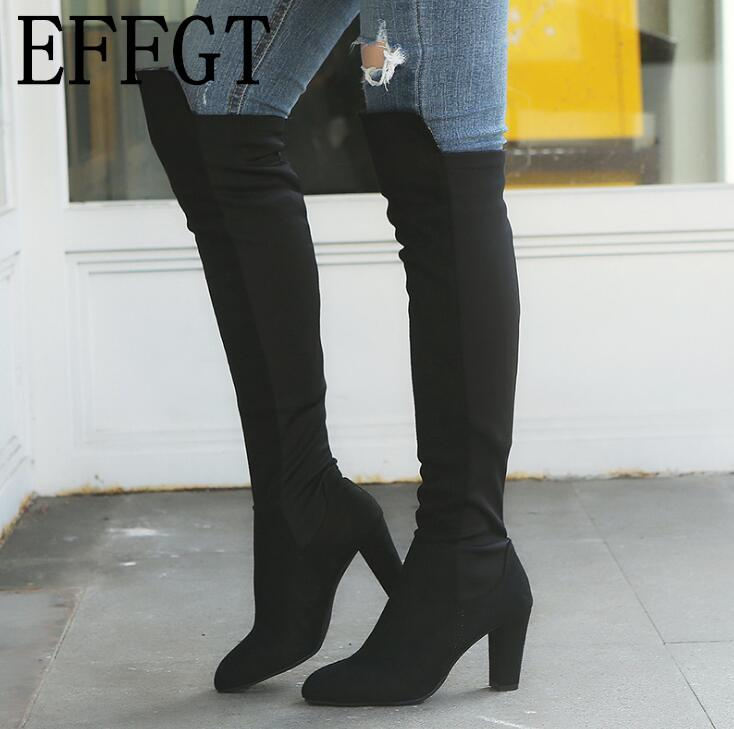EFFGT 2019 New cow suede Round Head cozy stovepipe slip on high heel long boots stretch thigh high boots size 35-43 A333