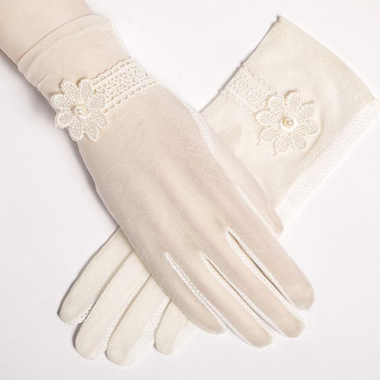Lace Sun Protection Glove Summer Autumn Anti - Uv Embroidery Short Style of Long - Style Thin Outdoor Driving Anti-slip Gloves.