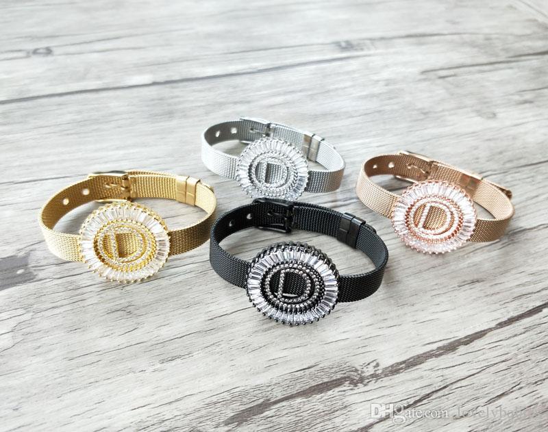 4 pieces Copper mirco pave cz zircon letter D Pendants,Chic circle charms big initials Strap bracelet Women jewelry Findings BG188
