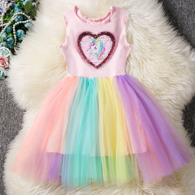 Detailhandel kinderen ontwerper meisjes jurken eenhoorn vest prinses jurk zomer mouwloze paard applique ruche regenboog rokken cartoon jurken