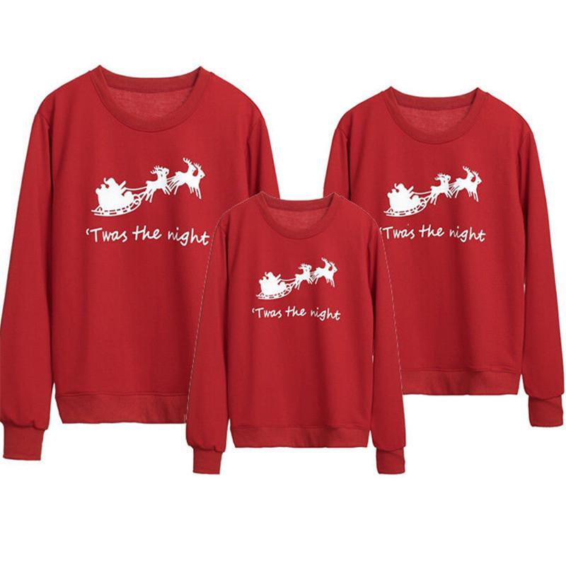 새로운 간단한 가족 소년 소녀 남여 어린이 여성 남성 레드면 크리스마스는 점퍼 후드 크리스마스 인쇄하기