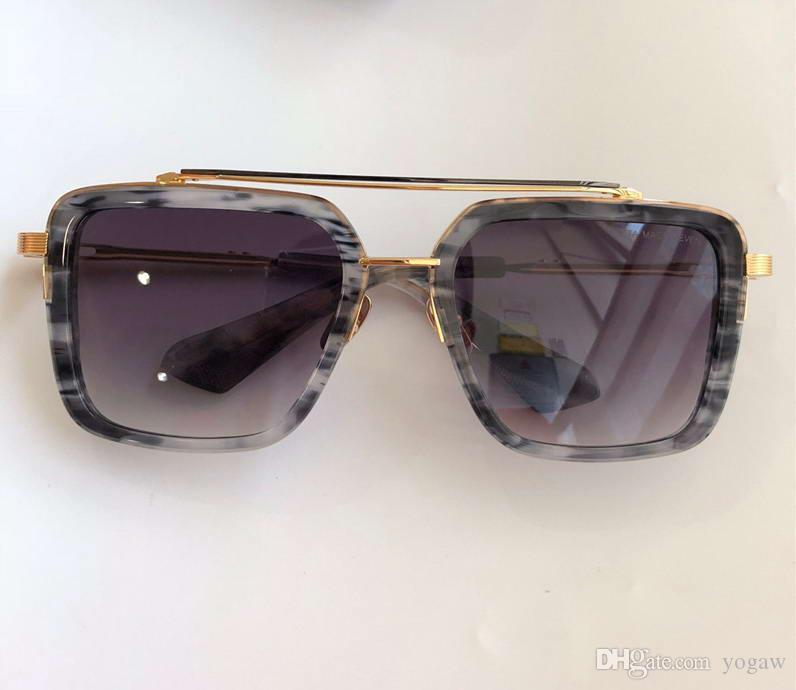 Marco de oro cuadrado de metal gafas de sol de la raya gris gris degradado de la lente de las gafas de sol para hombre OCchiali da única nuevos con la caja