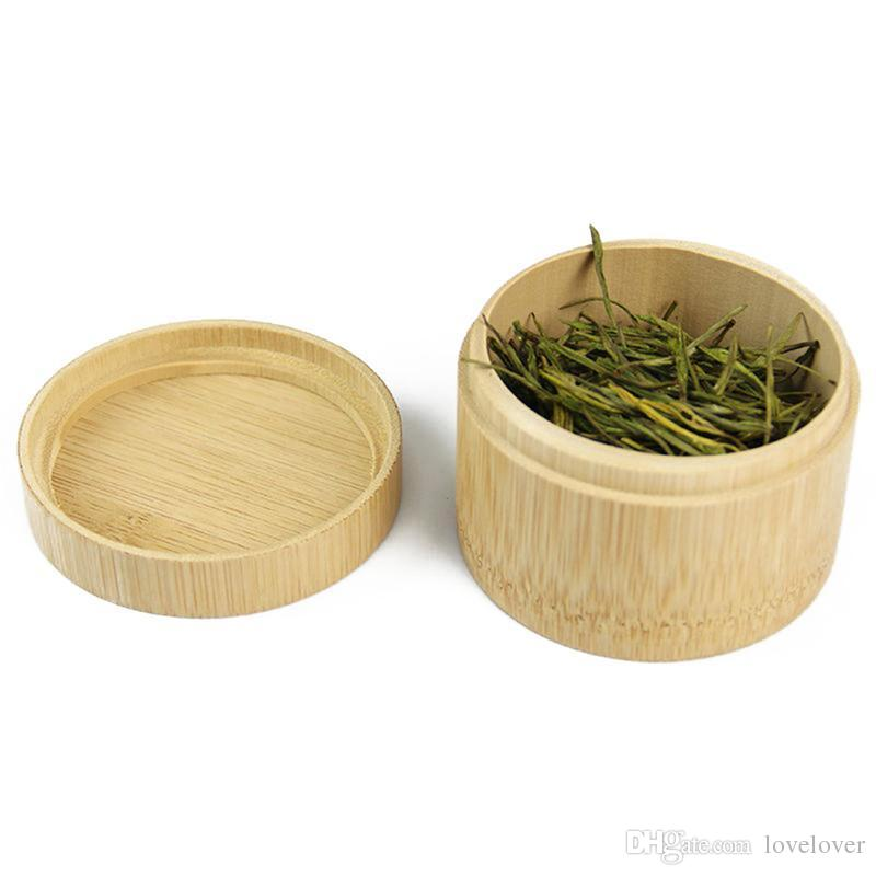 Mini Round Bamboo Tea Box Maccha Storage Box Canister Column Chinese style tea canisters