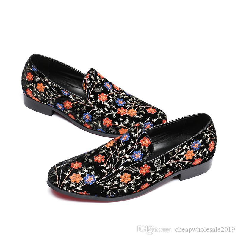 Homens de luxo Sapatos de Festa e Mocassins de Casamento dos homens Vestido Flats Nova Moda Handmade Impressão Cavalheiro Chinelos de Fumo