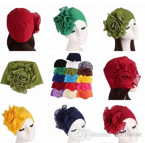 20 Cores lado Grande flores mulher chapéus de fibra De Bambu elástica cabeça de Senhoras moda elegante chapéus Senhoras Caps Muçulmanos