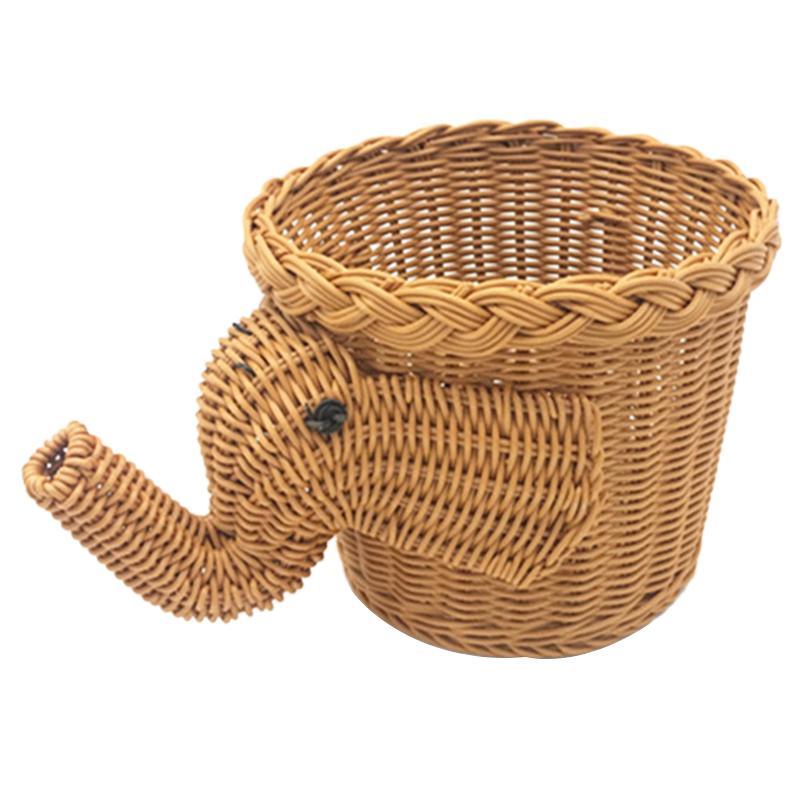 El yapımı Bambu Fil Hasır Piknik Sepeti Gıda Ekmek Kamp Piknik Sepeti Bambu Meyve Depolama Basket