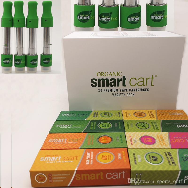 SmartBud Smart Carts Vape Pen Cartridges Magnetic Box 0 8ml 1 5mm*4 Thick  Oil Ceramic Coil Copper Mouthpiece Screw Tip 30 Display Box Best Vaporizer